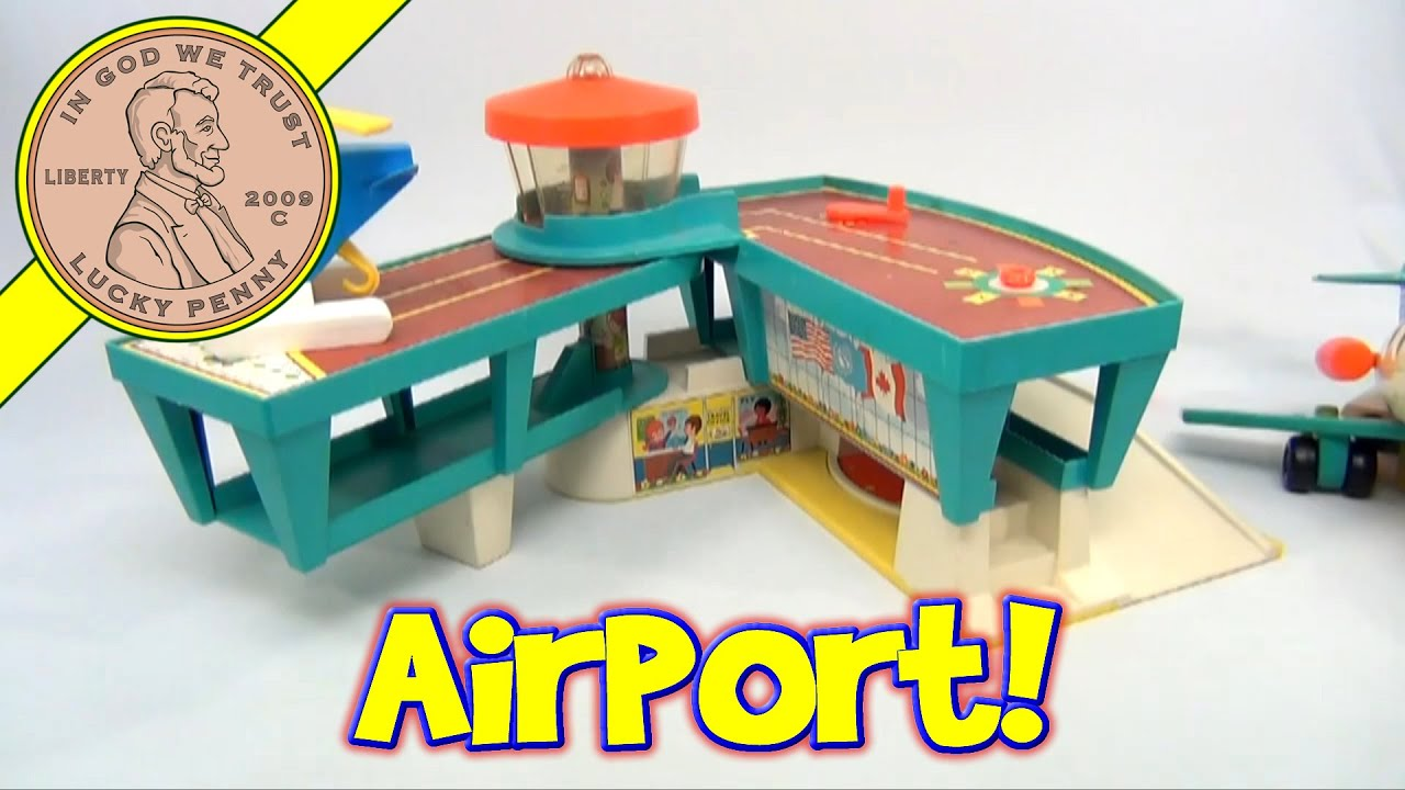 1972 Vintage Fisher Price Play Family 996 Airport Airplane