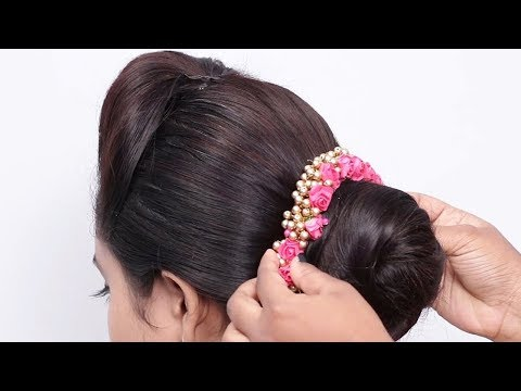 Simple Indian Bridal Hairstyle Tutorial   Easy Bun Hairstyles   South Indian wedding guest hairstyle thumbnail