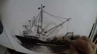 Time Lapse Drawing Boat Watch in HD