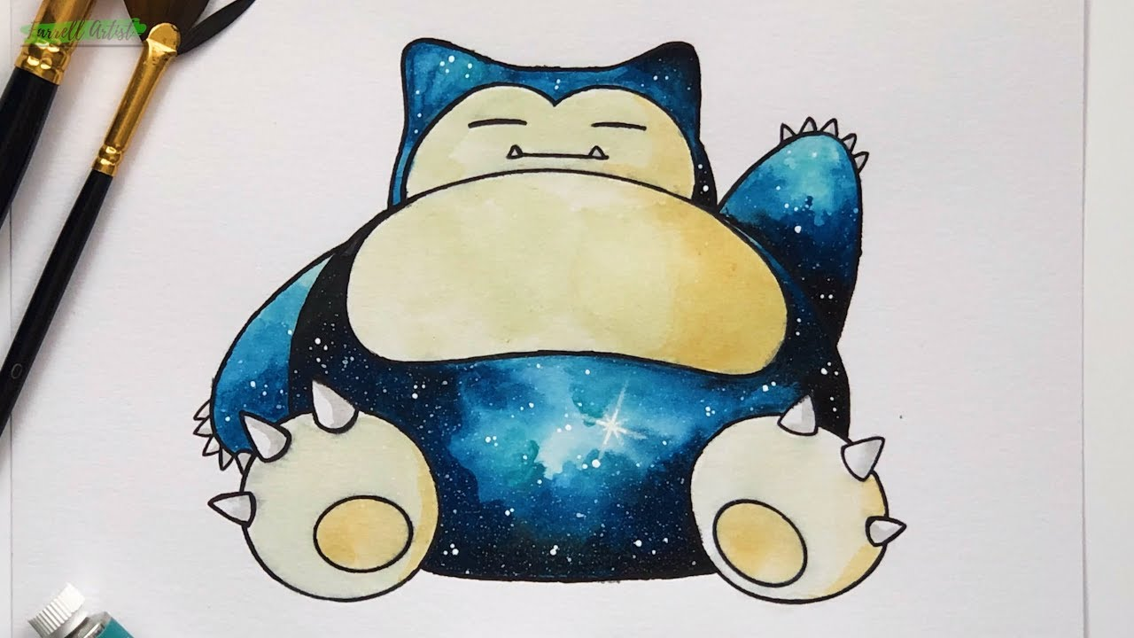 pokemon painting tutorial galaxy snorlax using watercolor paint timelapse youtube pokemon painting tutorial galaxy snorlax using watercolor paint timelapse