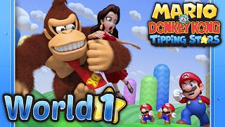 Mario Vs. Donkey Kong: Tipping Stars - World 1 Rolling Hills 100%