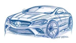 Рисунки и эскизы футуристических и спортивных автомобилей
