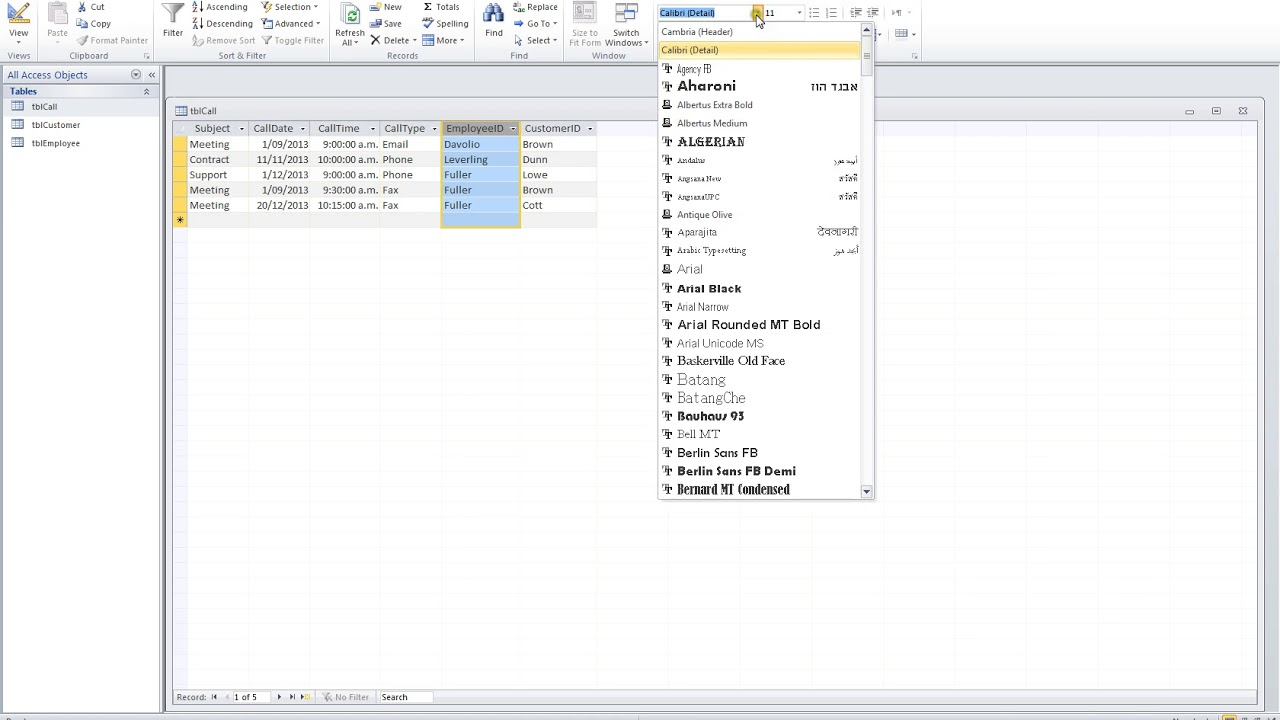 Microsoft Access 2010 Video 16 working with Datasheet view