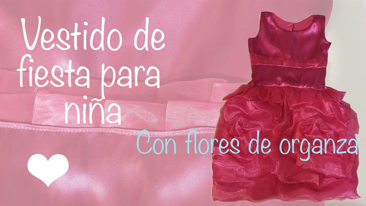 Vestido de fiesta para niña con flores de organza - YouTube