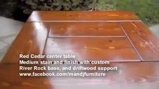 Red Cedar River Rock base Center Table