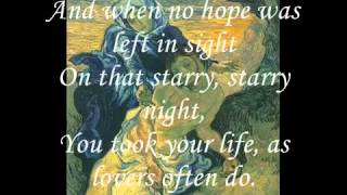 Don McLean   Vincent  Starry, Sarry Night Withs Lyrics   YouTube