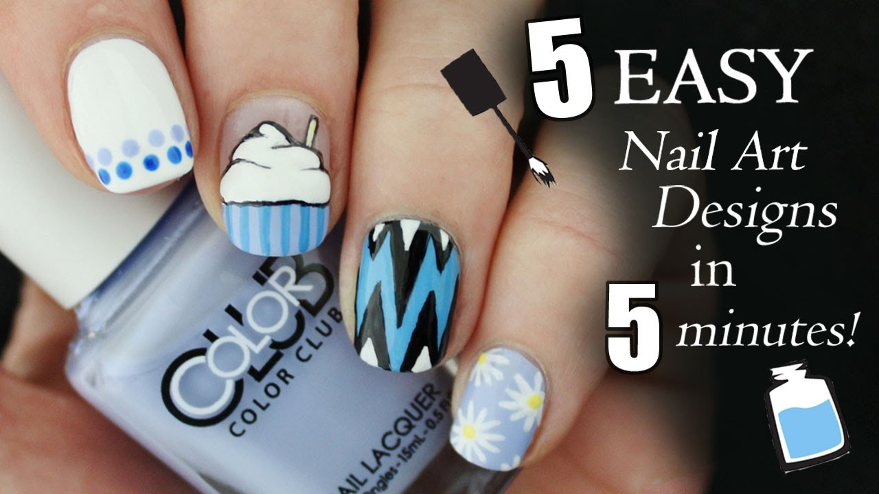Five In Five Easy Blue Nail Art Designs Nailed It Nz Youtube