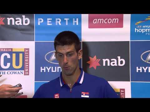 Novak Djokovic Australia vs Serbia Post Match Press Conference - Hyundai Hopman Cup 2013