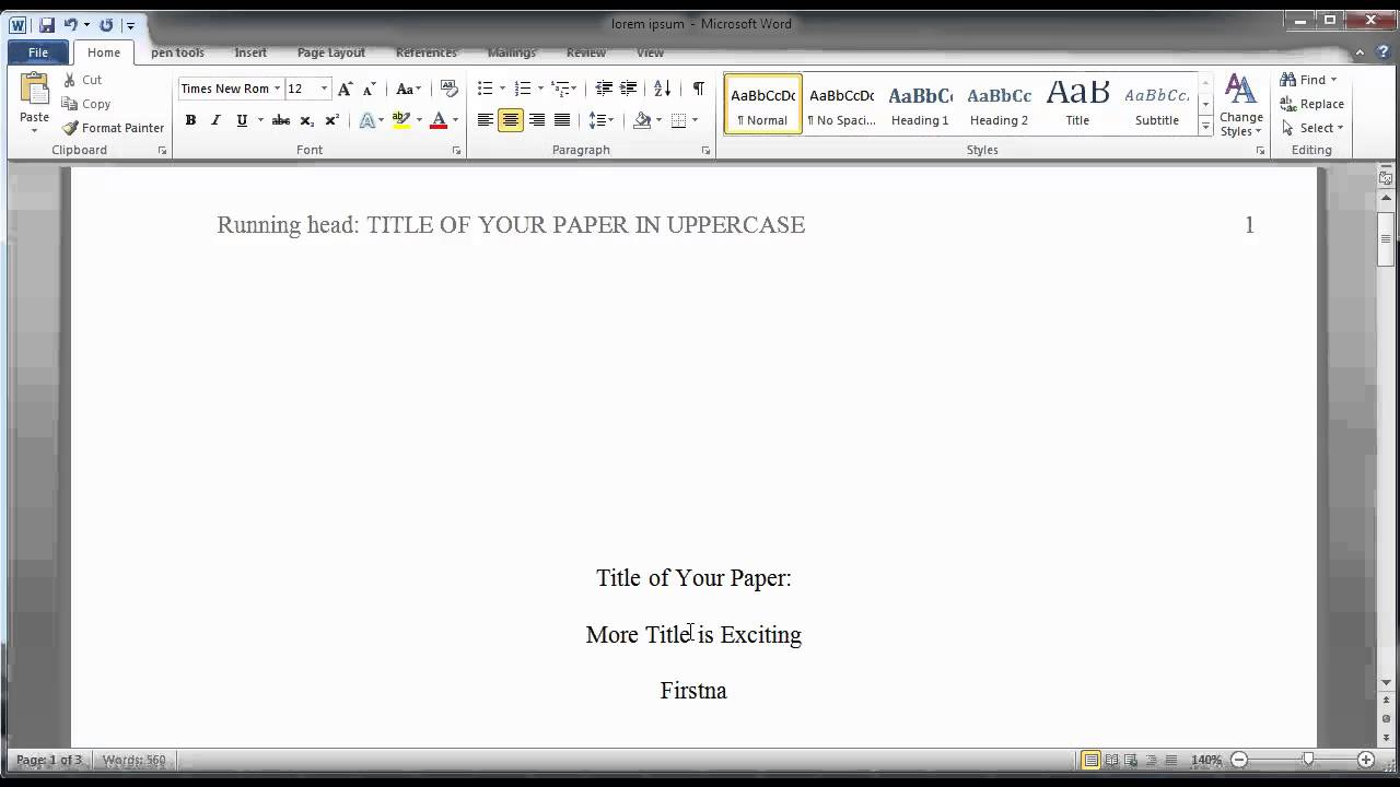 formatting a finished paper in apa style youtube