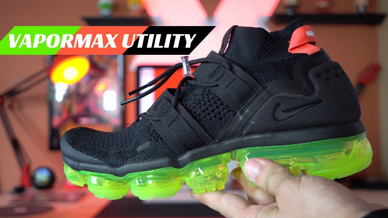 5e5fd08719483 Review of Nike Air Vapormax Flyknit Utility Black Volt - YouTube