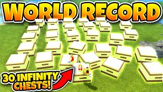 CRAFTING 30 INFINITY CHESTS! *NEW WORLD RECORD* (Roblox Booga Booga)