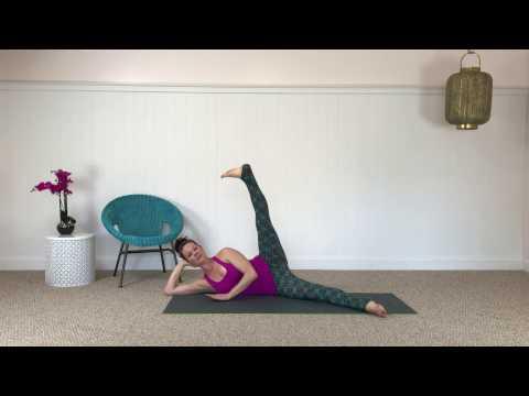 CarriePagesPilates.com Pilates Mat Side KIcks 10 minute mat class