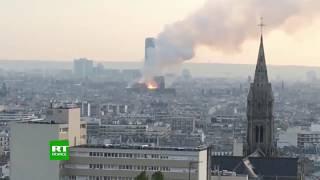 En direct de la cathédrale Notre-Dame de Paris où un incendie est en cours
