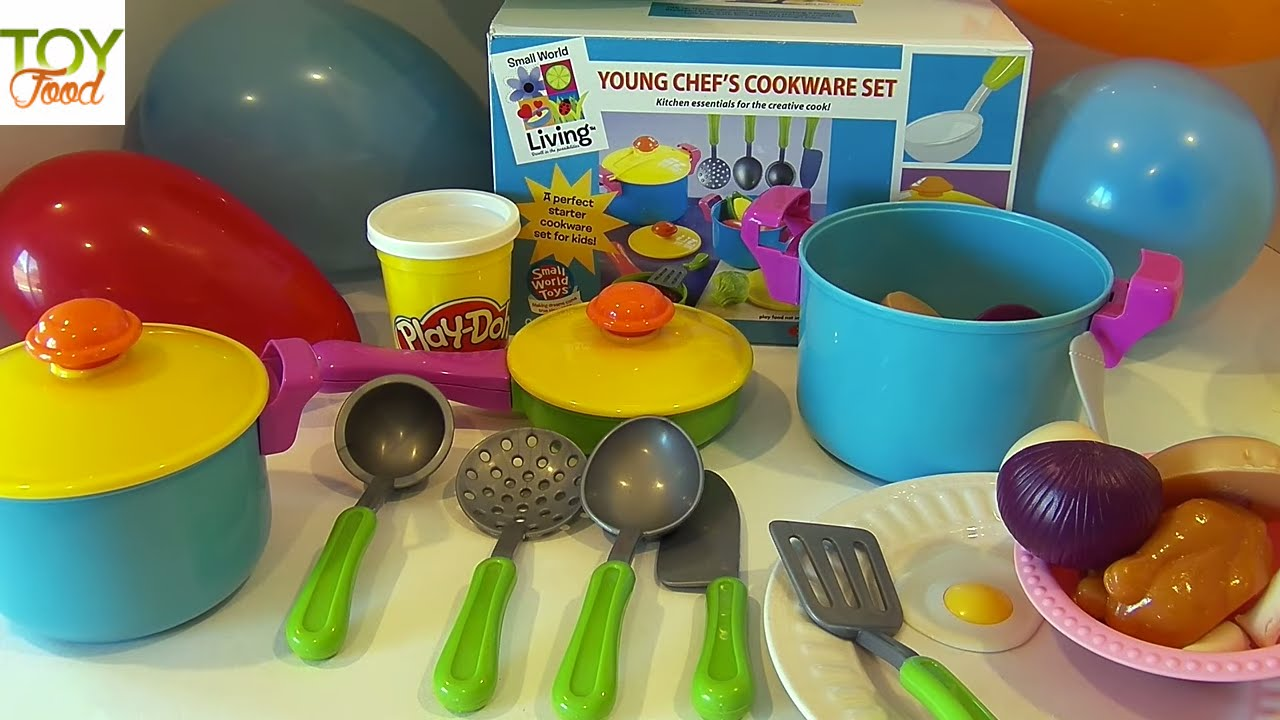 Play Kitchen Dishes cooking chicken noodle soup, unboxing toy dishes, toy food & play