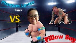 Lance Wrestling a Pillow