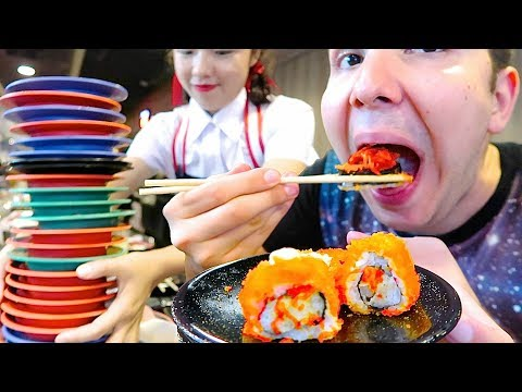 100 Sushi Challenge • Sushi Bar Conveyor Belt Buffet • MUKBANG