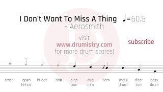Aerosmith - I Don't Want To Miss A Thing Drum Score