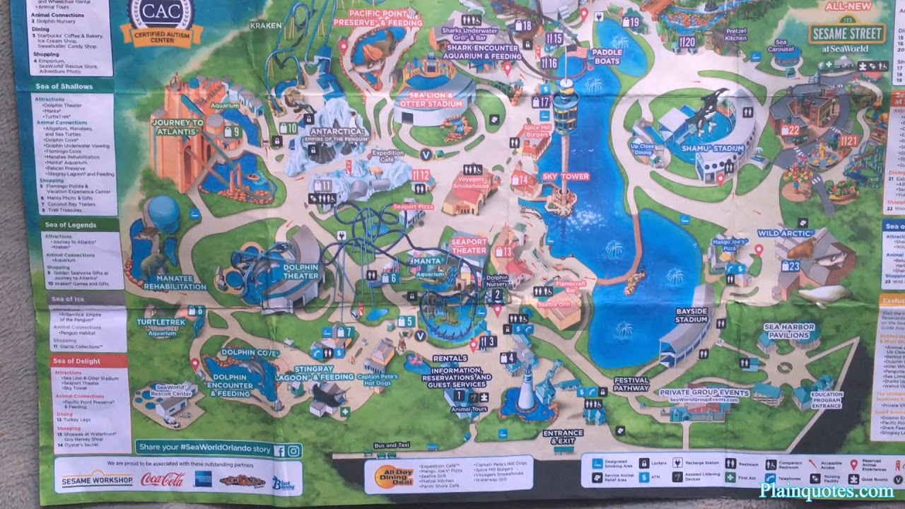 2019 SeaWorld Orlando Florida park map - YouTube