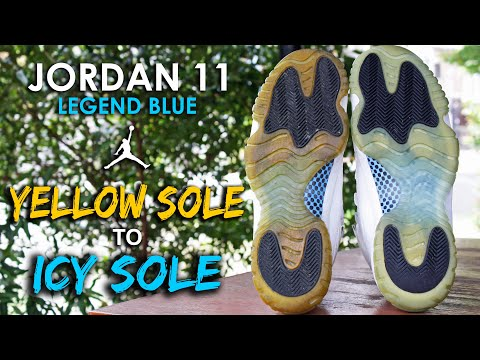 JORDAN 11 RESTORATION, YELLOW SOLE TO ICY SOLE (TUTORIAL)