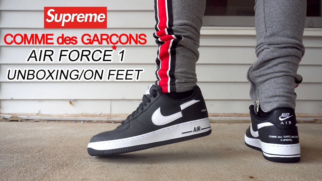 289c7ac7d71c5 SUPREME X COMME des GARÇONS AIR FORCE 1 UNBOXING + ON FEET - YouTube