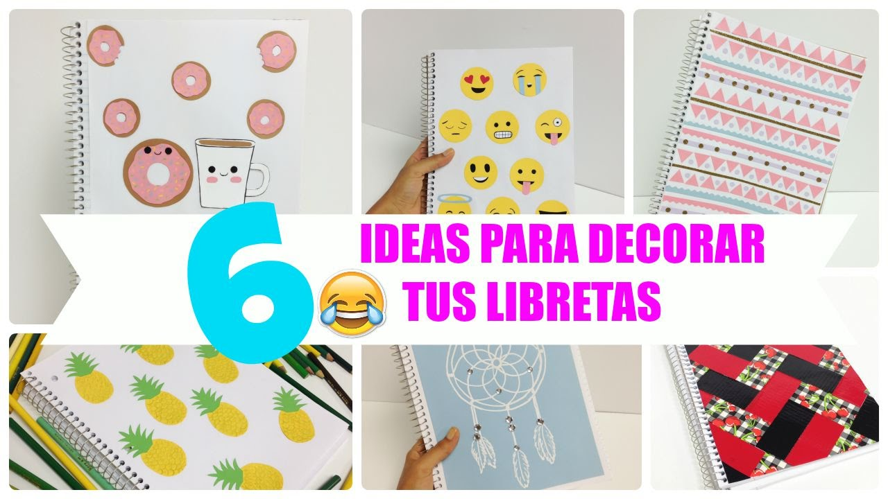6 ideas para decorar cuadernos libretas facil youtube for Formas para decorar una casa
