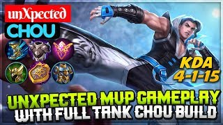 Unxpected MVP Gameplay, With Full Tank Chou Build [ Chou unXpected ] unXpected Chou Mobile Legends