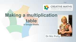 Spreadsheets with Dr Nic - a multiplication table