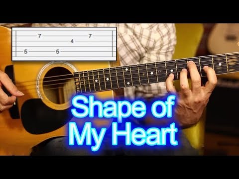 Shape of my Heart TAB Guitar Lesson - tutorial - How to Play