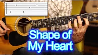Shape of my Heart TAB Guitar Lesson - tutorial - How to Play Video
