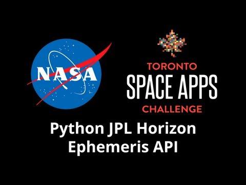 Python JPL Horizon Ephemeris API — NASA Space Apps Challenge Toronto