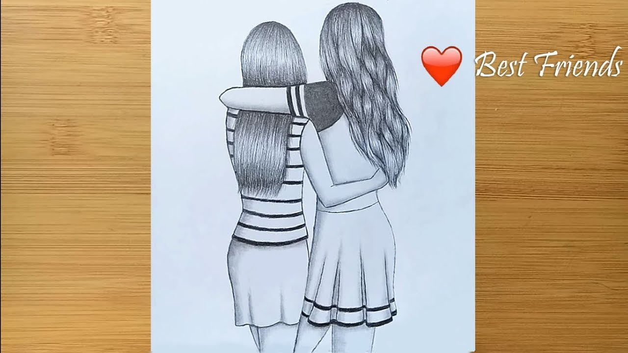 Pencil drawing girl drawing best friends drawing