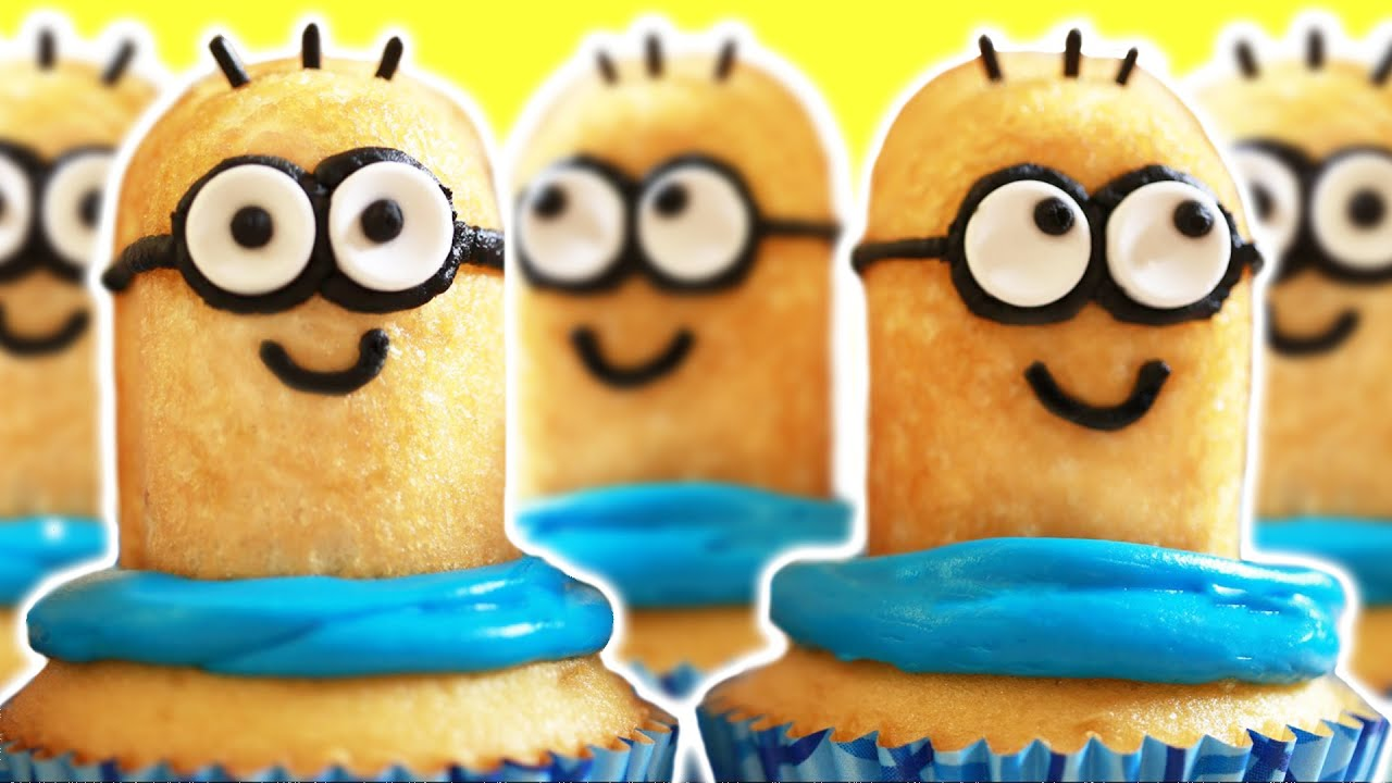 What You Will Need for Despicable Me Minion Cupcakes: Twinkies, halved. If you are making a dozen you'll need six Twinkies) Smarties for eyes. The only problem here is that you have to buy a lot of Smarties to get enough white ones. The ratio of white to colored is pretty bad.
