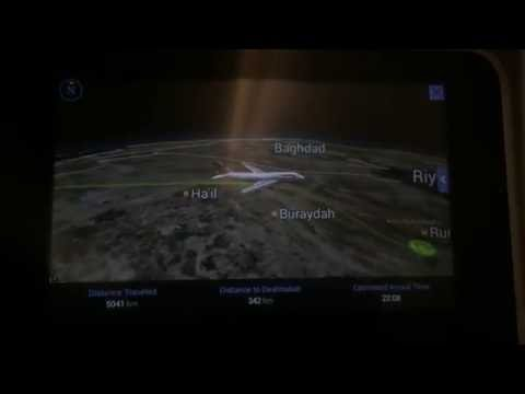 Flying route from London to Riyadh for British airways