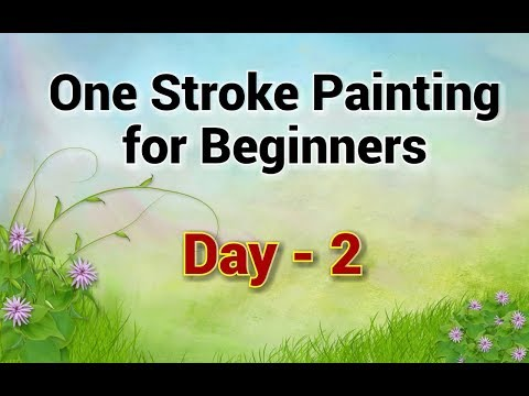 One Stroke Painting For Beginners - Day 2 | Acrylic Painting Tutorial