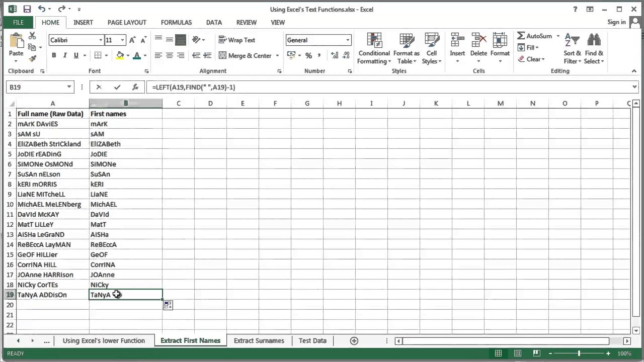Microsoft Excel 2013 - Using Text Functions - LEFT, FIND & PROPER ...