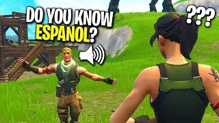 DEFAULT SKIN TEACHES ME SPANISH TO HELP HIM WIN ON FORTNITE! (He Didn't Know English)