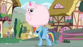 Pink fluffy unicorn dancing on Rainbow... Dash