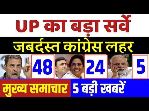 बड़ा सर्वे : UP में जबर्दस्त कांग्रेस लहर । Today Breaking News , Loksabha election  , opinion poll