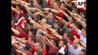 Austrian fans in town hall fan zone celebrate last minute draw with Poland