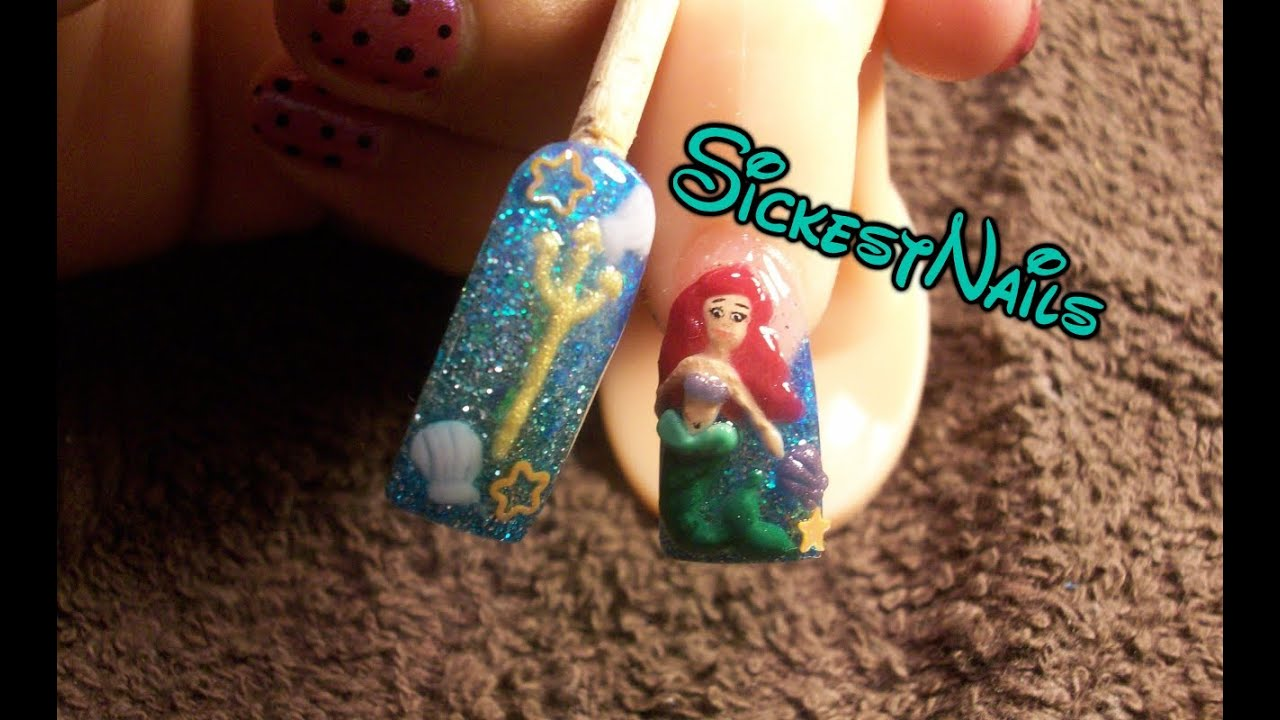 Acrylic Nail Design-3d The Little Mermaid Inspired Nails Pt.2/2 #2 ...