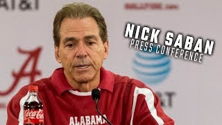 Nick Saban addresses the media ahead of College Football Playoff