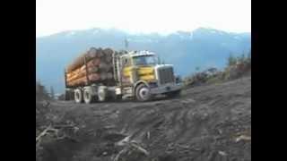 Peterbilt log truck pulling adverse with loud cummins!