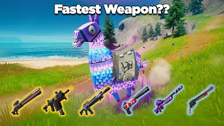 Which Weapon is the Fastest for Eliminating a Loot Llama?? - Fortnite Experiments