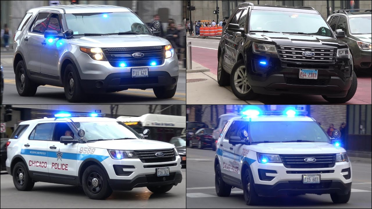 Chicago Police cars responding and Law Enforcement activity