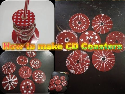How to make Coasters using waste CD's/DIY Coasters/ Coffee table decorations
