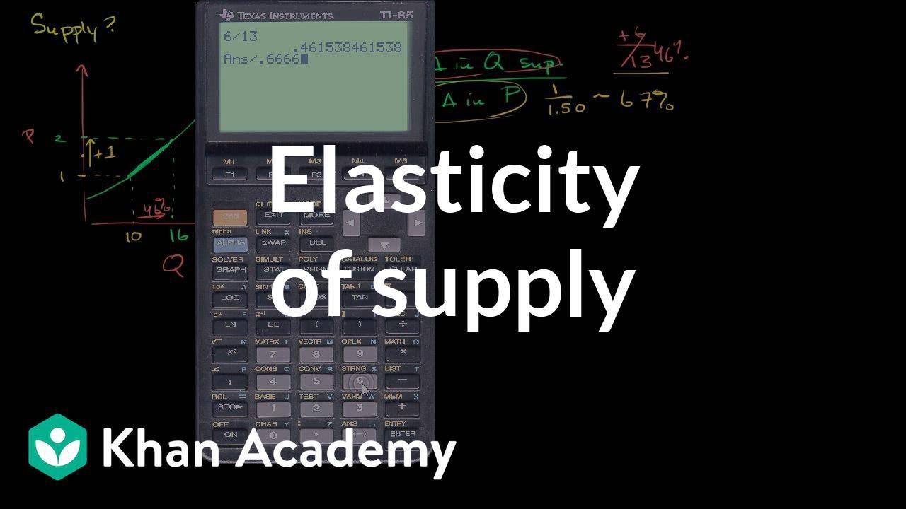Elasticity of supply | Elasticity | Microeconomics | Khan Academy