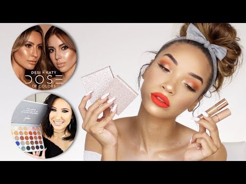 TRYING NEW MAKEUP | DesiXKaty, Jaclyn Hill Palette, Huda Beauty!