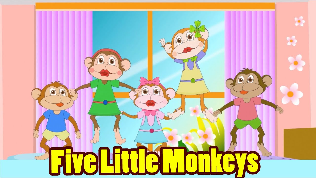 Five Little Monkeys Jumping On The Bed With Lyrics
