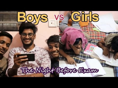 Boys vs Girls - The Night Before Examination ( A Web Series ) Funny Video 2017