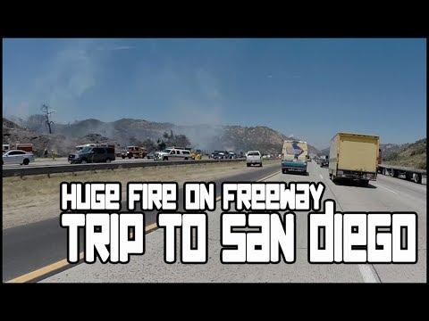 Huge Fire On Freeway / Trip To San Diego